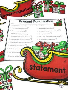 Present Punctuation is a fun center for students to practice sorting sentences by their correct ending punctuation and type of sentence it is! Great for Christmas time! Students will read each sentence then place it in or the sleigh with the correct ending punctuation. There are different sentence types for variety of grades. Comes with a recording sheet.