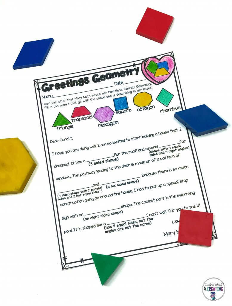 Practice reading and matching shape attributes with the correct shape.
