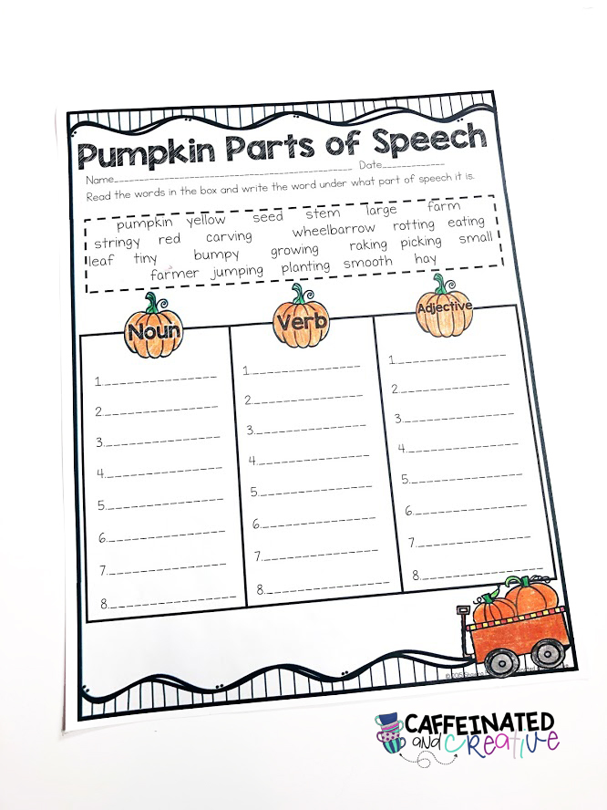Pumpkin parts of speech is a fun activity for students to sort words under their correct part of speech. Perfect for fall, Halloween, or Thanksgiving!