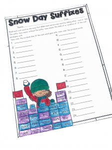 Students can practice suffixes with Snow Day Suffixes.This page is part of a Winter No Prep ELA and Math Unit for Second Grade!