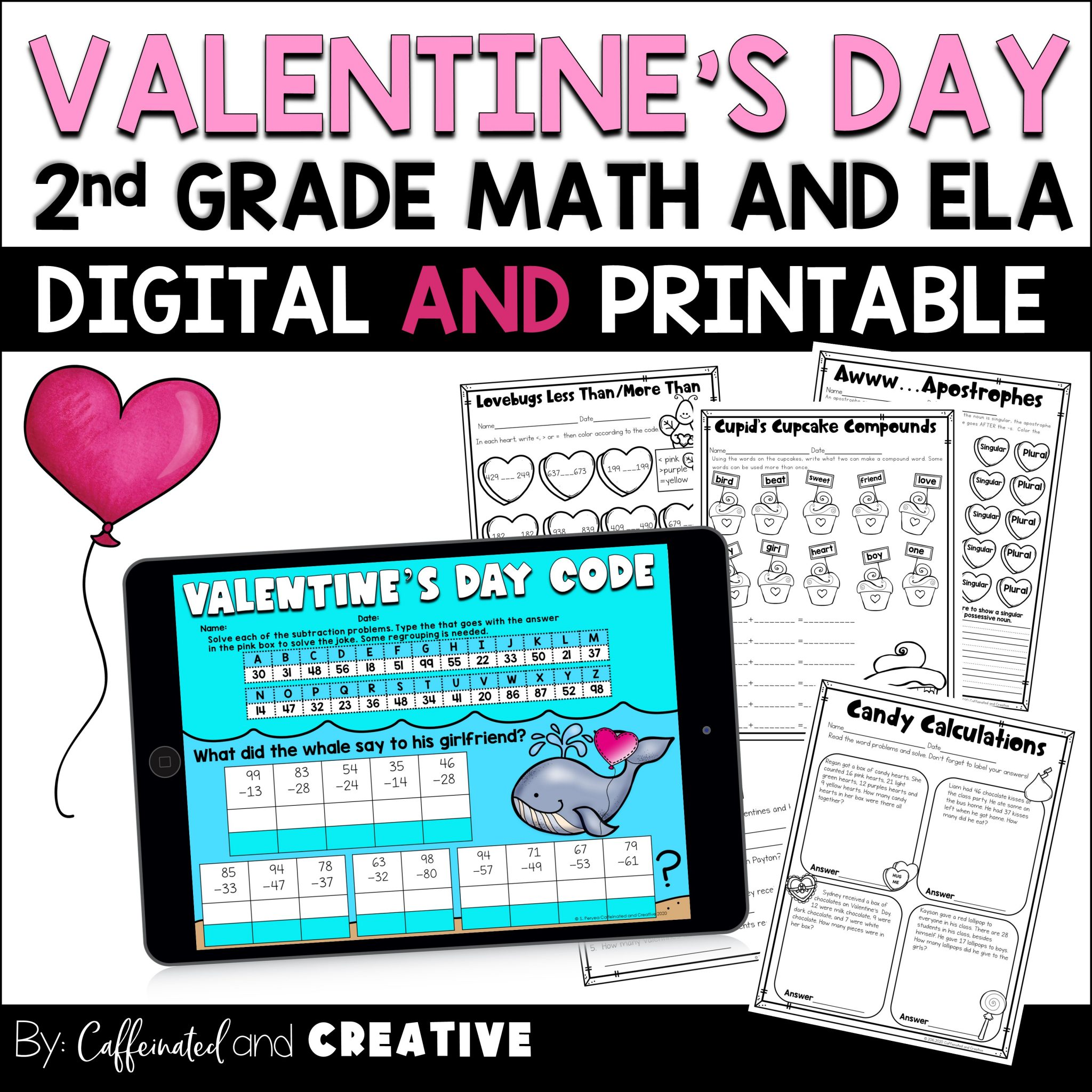 Have students practice a number of second grade concepts with Digital and Printable Valentine's Day Mini unit! Perfect for teaching remote, in person, or hybrid!