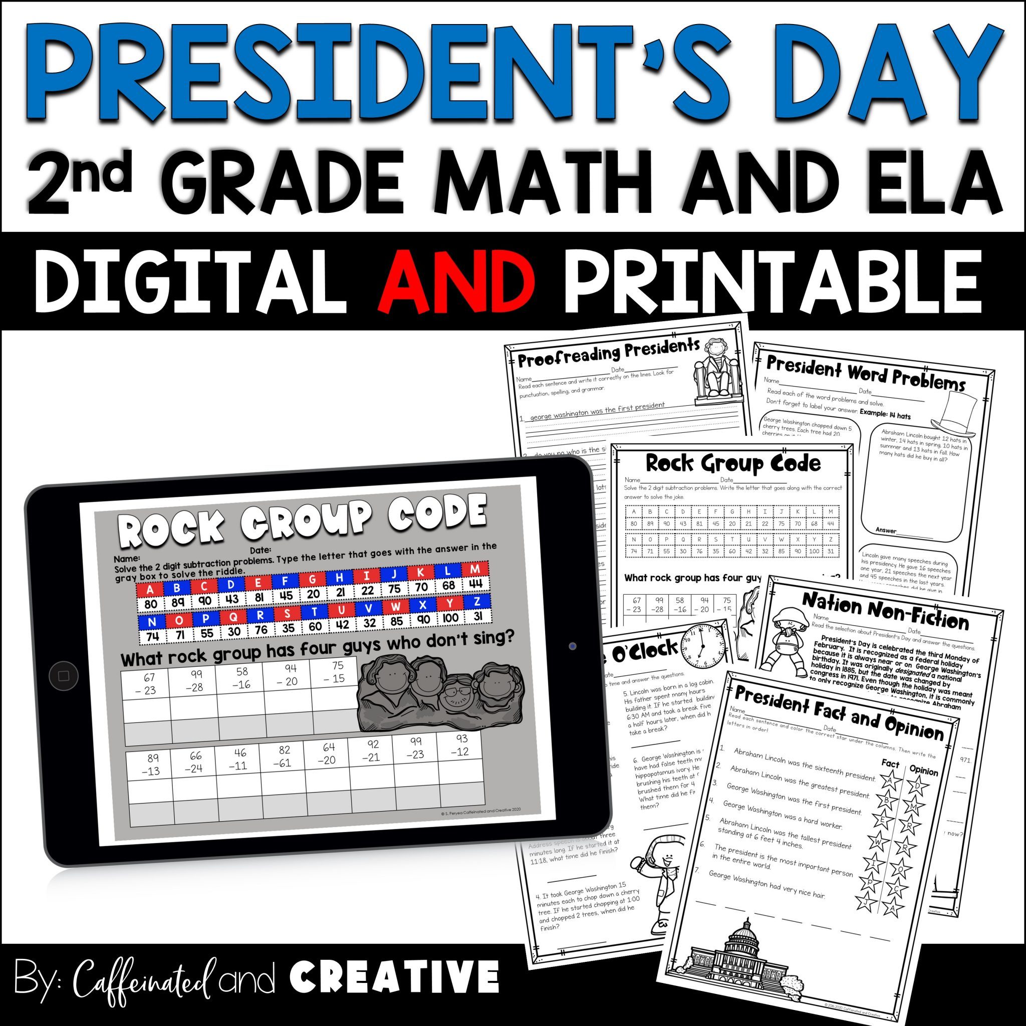 President's Day No Prep Mini Unit for Second Grade is perfect for fun and engaging activities on President's Day! This unit is apart of a Second Grade February No Prep ELA and Math Unit that includes Groundhog's Day, Chinese New Year, football and Valentine's Day as well! This unit is geared towards 2nd graders, but can also be used for talented first graders or third graders who may be struggling a bit. This product is meant to be a time saver. Just print! It can be used for homework, morning work, or even fun assessments!