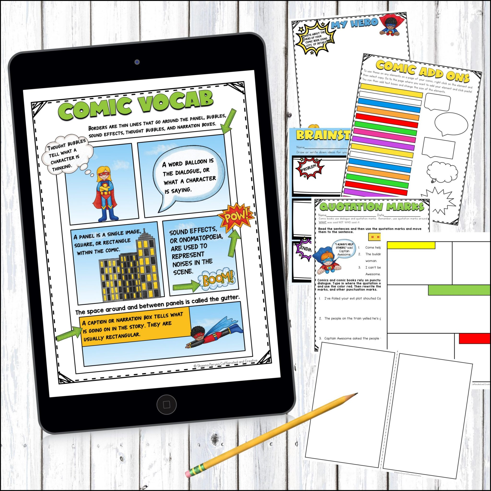 Digital and Printable comic book is a great way for teaching writing with comics!