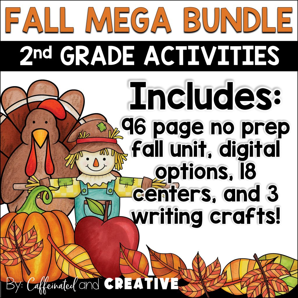 Fall Mega Bundle includes over 18 centers, 96 pages of fall themed printables, digital options, and writing crafts for the entire season!