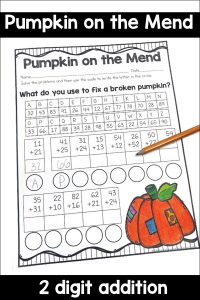 Have students solve two digit addition problems and then solve a code. Perfect for fall math!