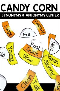 Candy corn synonyms and antonyms is a fun center for students to practice finding a synonym and antonym for words. Each candy corn has a main word, synonym and antonym.