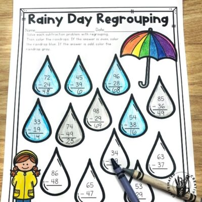 Students will practice regrouping with Rainy Day Regrouping and then color the rain drops according to the code! Perfect for springtime, especially April!