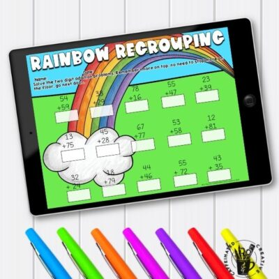Students will practice regrouping using Rainbow Regrouping. Great for anytime in spring or for a special spring holiday, St. Patrick's Day! How to Survive the Spring Holidays As A Teacher