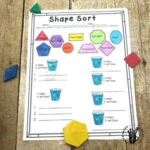 Have students sort shapes by their attributes with Shape Sort! This a is fun math activity for Earth Day!